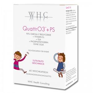 QuattrO3 + PS - Omega-3 Kapsel für Kinder - hochdosiert - Vitamin D - Nahrungsergänzung - Weichkapsel ohne Rinder-Gelatine