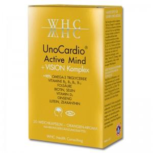 WHC - UnoCardio Active Mind + Vision Complex - Omega-3 Kapsel hochdosiert für Sehkraft und Gehirn, Konzentration, rbeiten am Bildschirm