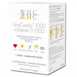 WHC - UnoCardio 1000 + VITAMIN D 1000 - Omega-3 Nahrungsergänzung - Kapsel DHA/ EPA hochdosiert